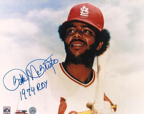 "Autographed Bake McBride St. Louis Cardinals 8x10 Inscribed ""1974 ROY"" PSM-Powers Sports Memorabilia"