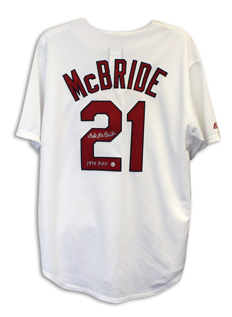 "Bake McBride St. Louis Cardinals Autographed White Majestic Jersey Inscribed ""1974 ROY"" PSM-Powers Sports Memorabilia"