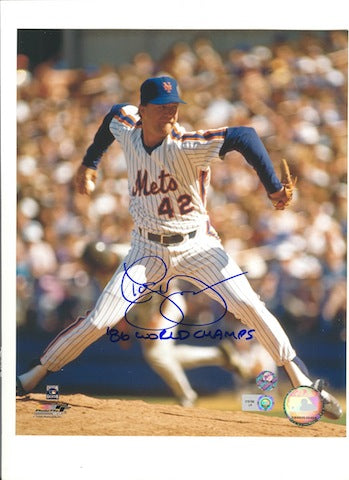 "Autographed Roger McDowell New York Mets 8x10 Photo Inscribed ""86 World Champs"" PSM-Powers Sports Memorabilia"