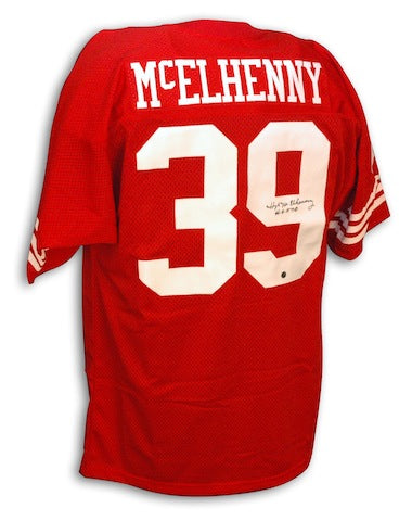 Autographed Hugh McElhenny San Francisco 49ers Throwback Jersey with HOF inscription PSM-Powers Sports Memorabilia