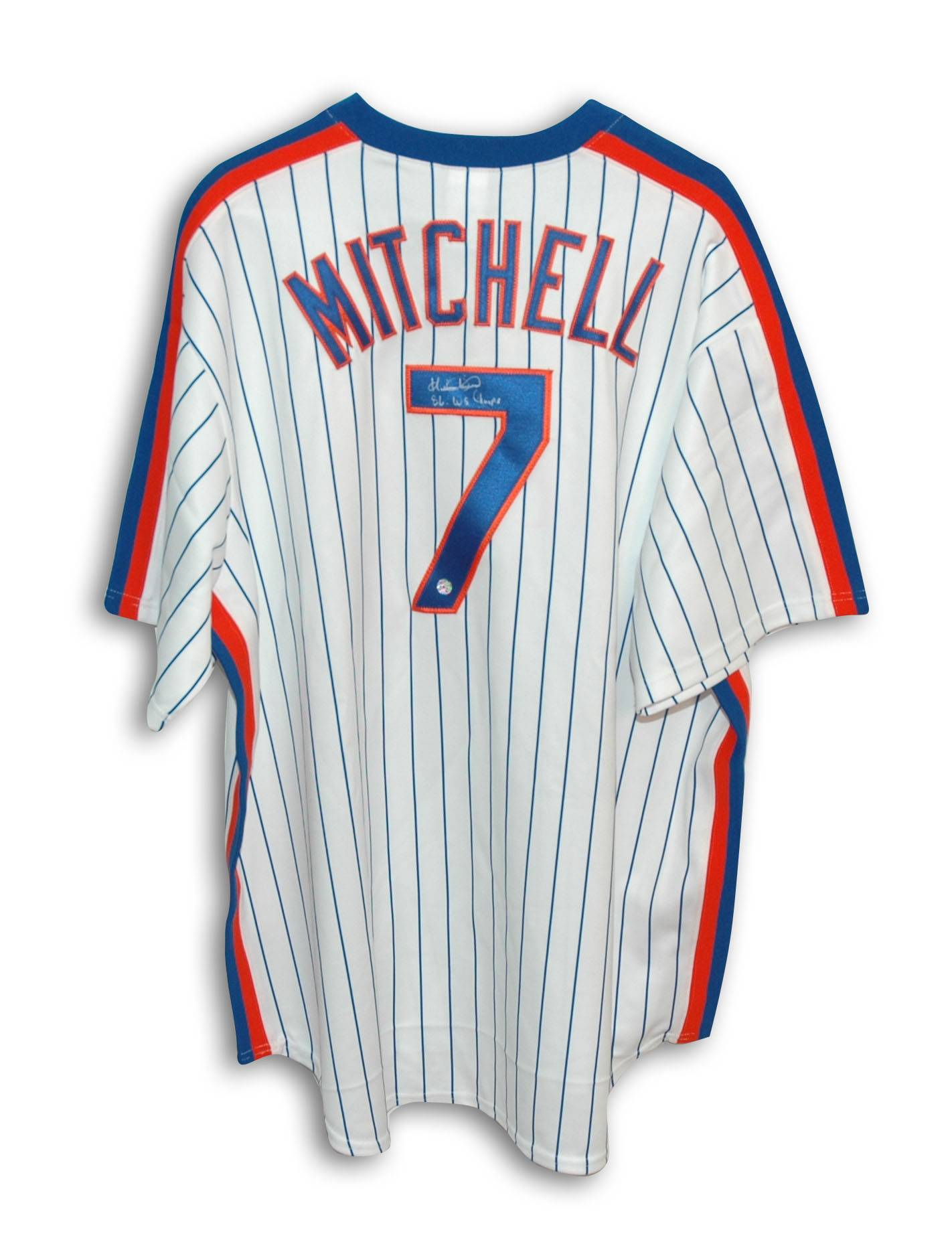 newest 5ca8b 92c9f Kevin Mitchell New York Mets Autographed Pinstripe Majestic Jersey  Inscribed
