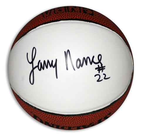 Larry Nance Autographed Spalding White Panel Mini Basketball PSM-Powers Sports Memorabilia