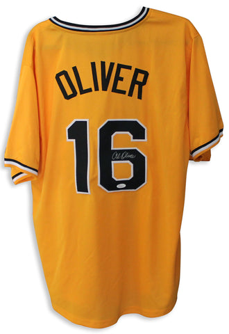 Al Oliver Pittsburgh Pirates Autographed Yellow Jersey PSM-Powers Sports Memorabilia