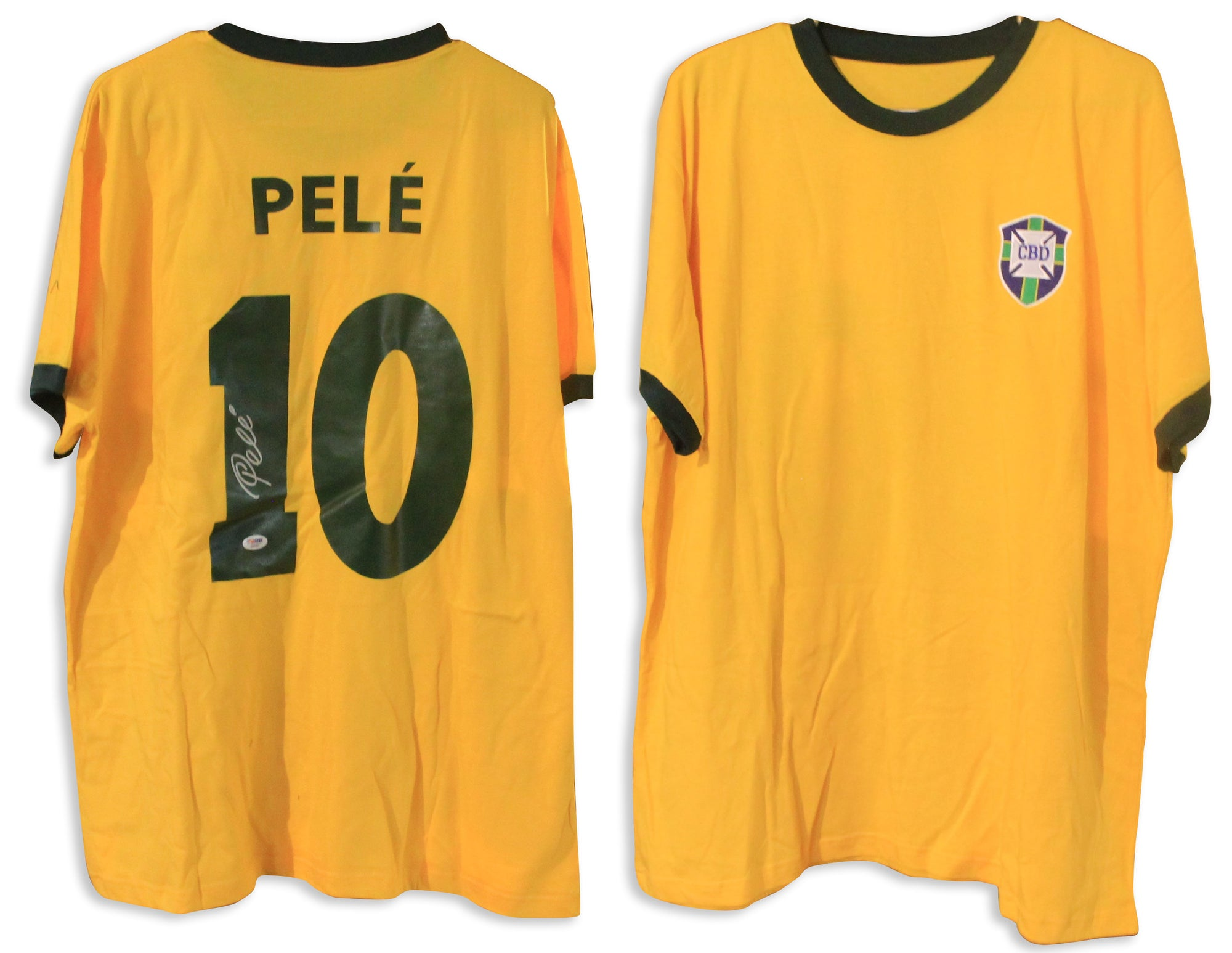 Pele Autographed CBD Brazil Yellow Jersey PSA DNA COA PSM-Powers Sports Memorabilia