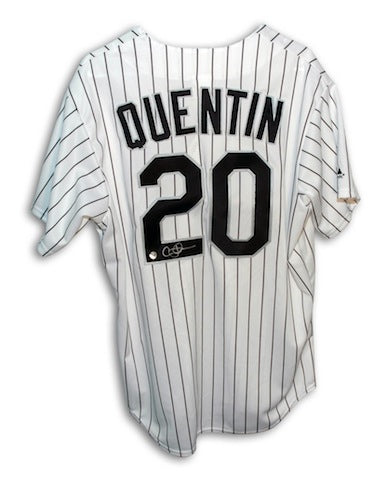 Autographed Carlos Quentin Chicago White Sox White Majestic Jersey PSM-Powers Sports Memorabilia