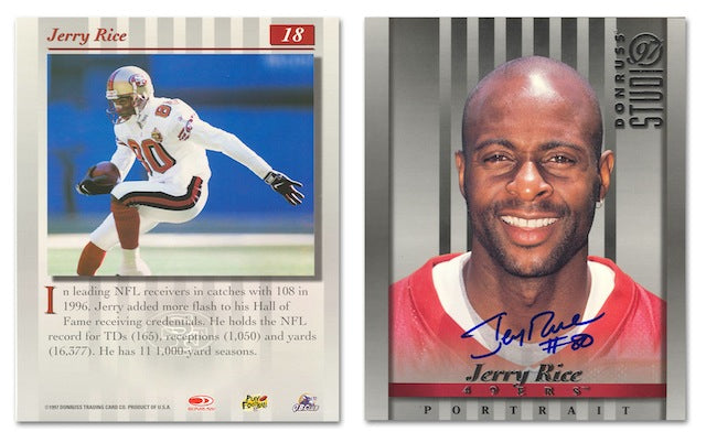 Autographed Jerry Rice Autographed 8x10 Replica of His Donruss Baseball Card both Front and Back PSM-Powers Sports Memorabilia