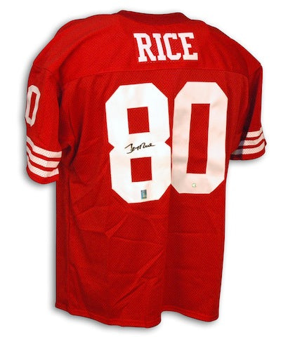 Autographed Jerry Rice San Francisco 49ers Red Throwback Jersey PSM-Powers Sports Memorabilia