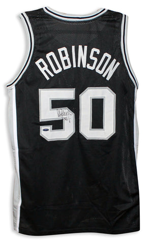 David Robinson San Antonio Spurs Autographed Black Jersey PSM-Powers Sports Memorabilia