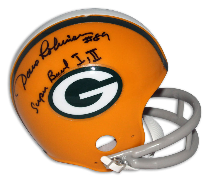 "Dave Robinson Green Bay Packers Autographed Mini Helmet Inscribed ""Super Bowl I, II"" PSM-Powers Sports Memorabilia"