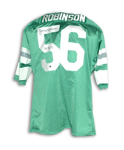 Autographed Jerry Robinson Philadelphia Eagles Green Throwback Jersey PSM-Powers Sports Memorabilia