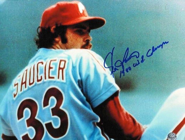"Autographed Kevin Saucier Philadelphia Phillies 8x10 Photo Inscribed ""1980 WS Champs"" PSM-Powers Sports Memorabilia"