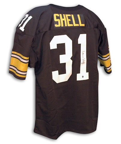 Autographed Donnie Shell Pittsburgh Steelers black Throwback Jersey PSM-Powers Sports Memorabilia