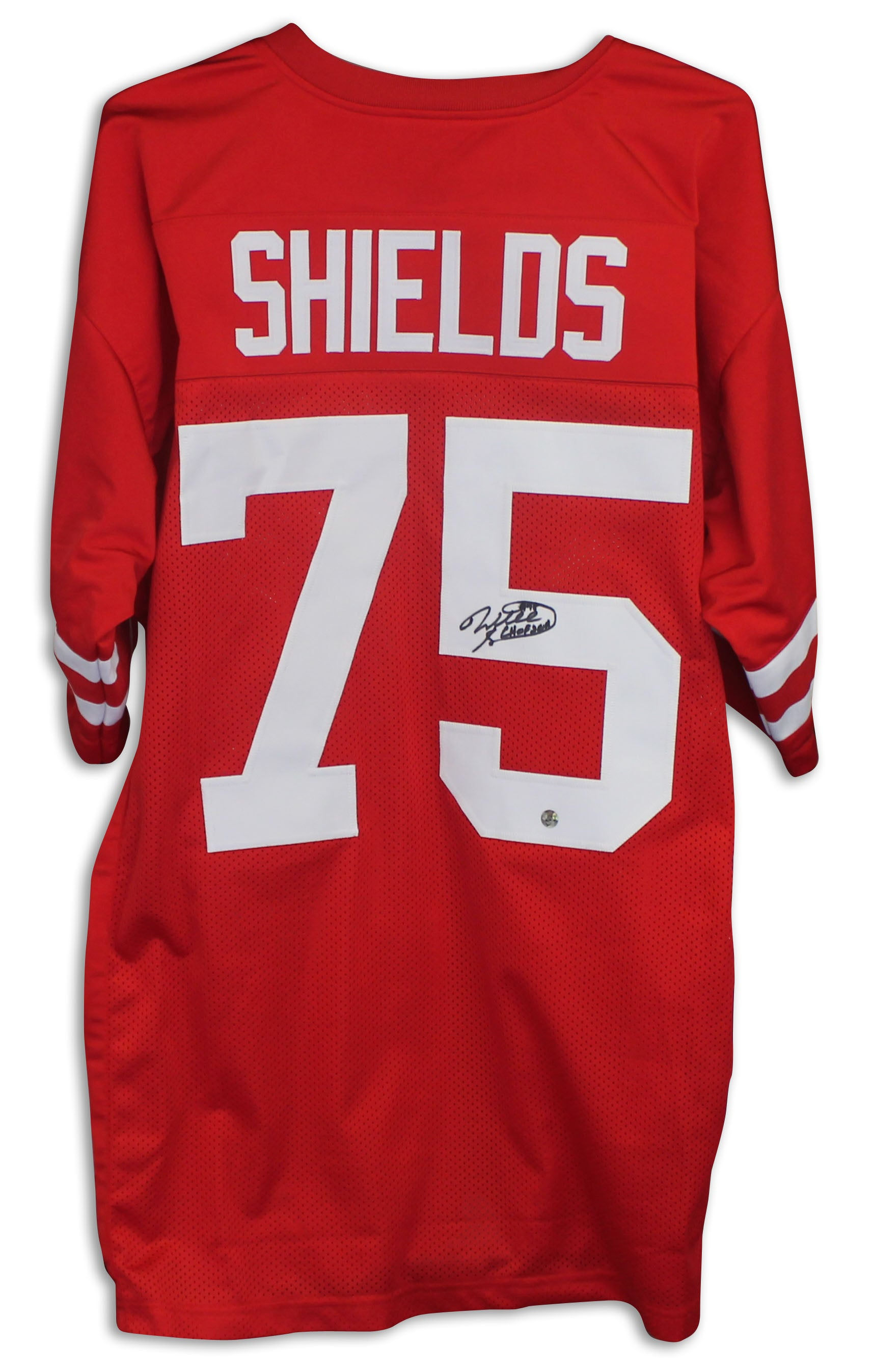 "Will Shields Nebraska Cornhuskers Autographed Red Jersey Inscribed ""HOF 2011"" PSM-Powers Sports Memorabilia"