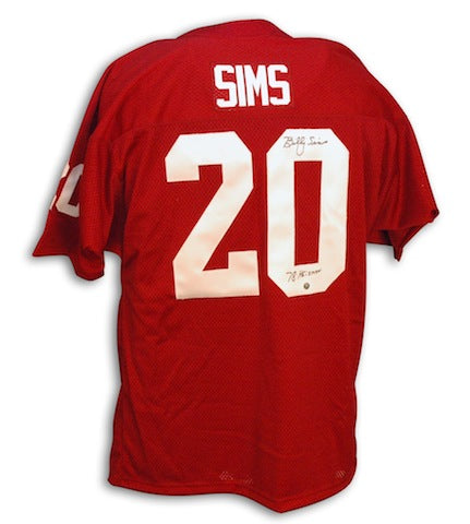 Autographed Billy Sims Oklahoma Throwback Red Jersey Inscribed Heisman 78 PSM-Powers Sports Memorabilia