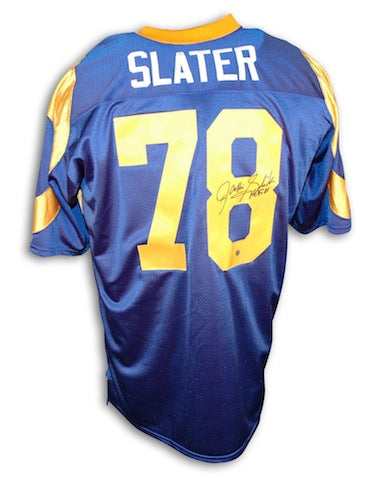 "Autographed Jackie Slater Los Angeles Rams Blue Throwback Jersey Inscribed ""HOF 01"" PSM-Powers Sports Memorabilia"