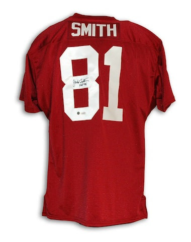 "Autographed Jackie Smith St. Louis Cardinals Red Throwback Jersey Inscribed ""HOF 94"" PSM-Powers Sports Memorabilia"