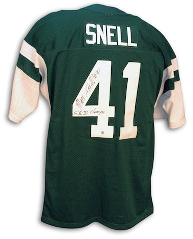 "Autographed Matt Snell New York Jets Green Throwback Jersey Inscribed ""SB III Champs"" PSM-Powers Sports Memorabilia"