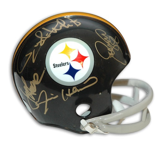 Autographed Steel Curtain Pittsburgh Steelers Throwback Mini Helmet PSM-Powers Sports Memorabilia