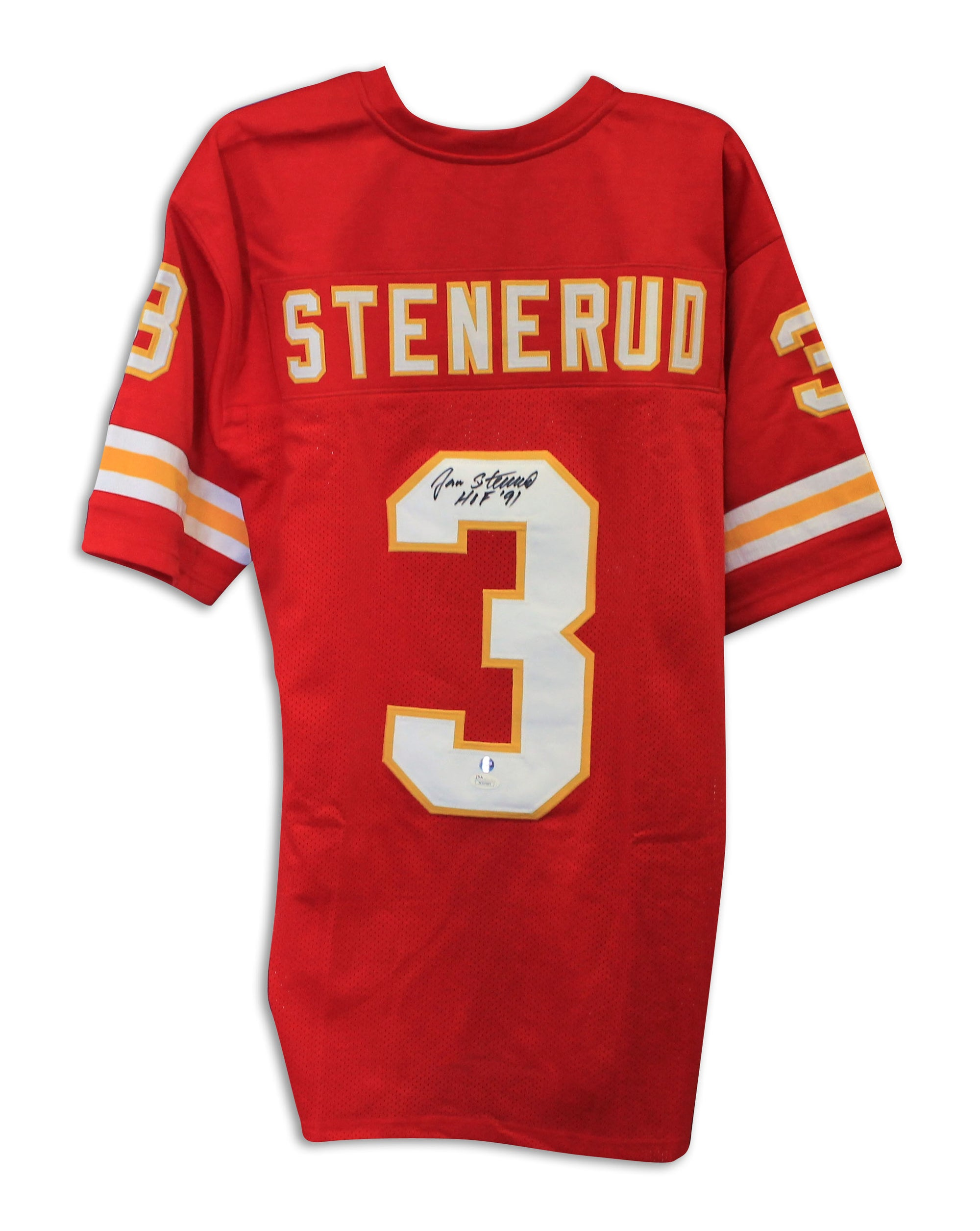hot sales f7a29 c1f94 Jan Stenerud Kansas City Chiefs Autographed Red Throwback Jersey Inscribed