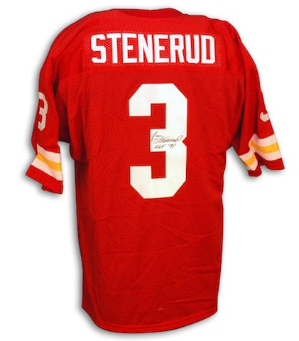 Autographed Jan Stenerud Throwback Kansas City Chiefs Red Jersey PSM-Powers Sports Memorabilia