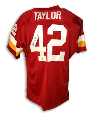 "Autographed Charley Taylor Washington Redskins Red Throwback Jersey Inscribed ""HOF 84"" PSM-Powers Sports Memorabilia"