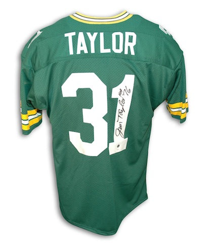 "Autographed Jim Taylor Green Bay Packers Green Throwback Jersey Inscribed ""HOF 76"" PSM-Powers Sports Memorabilia"