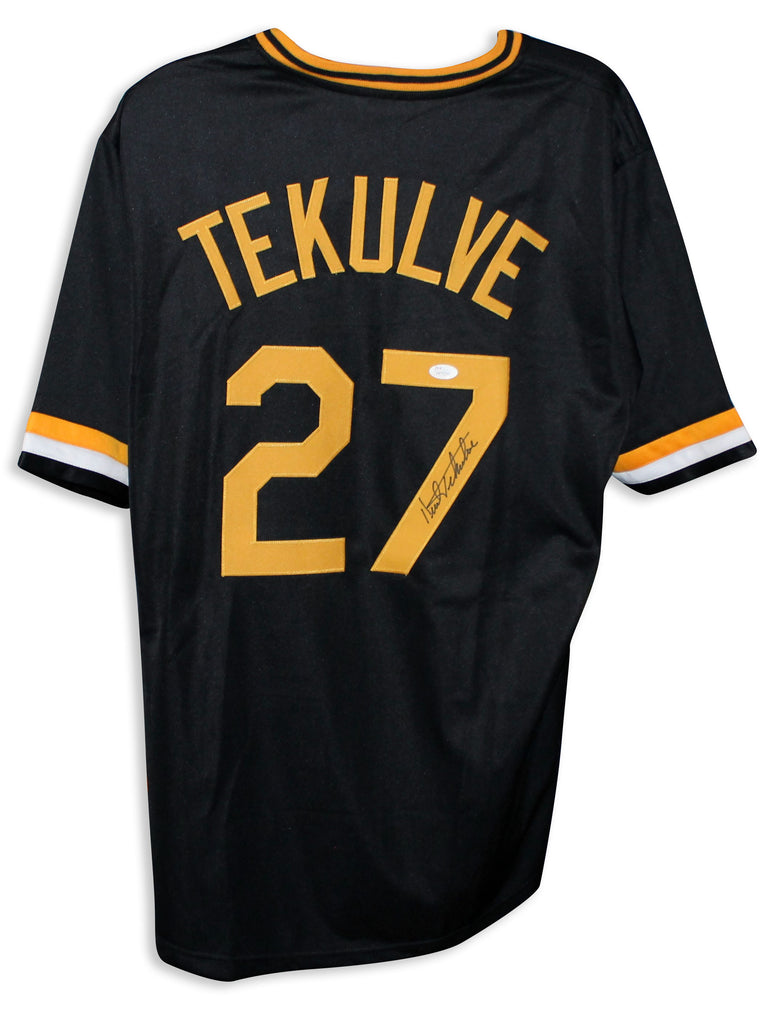 Kent Tekulve Pittsburgh Pirates Autographed Black Jersey PSM-Powers Sports Memorabilia