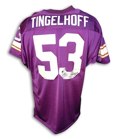 Autographed Mick Tingelhoff Minnesota Vikings Purple Throwback Jersey PSM-Powers Sports Memorabilia
