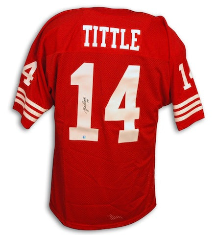 Autographed Y.A. Tittle New York 49ers Throwback Red Jersey PSM-Powers Sports Memorabilia