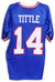 Y.A. Tittle New York Giants Autographed Blue Jersey PSM-Powers Sports Memorabilia