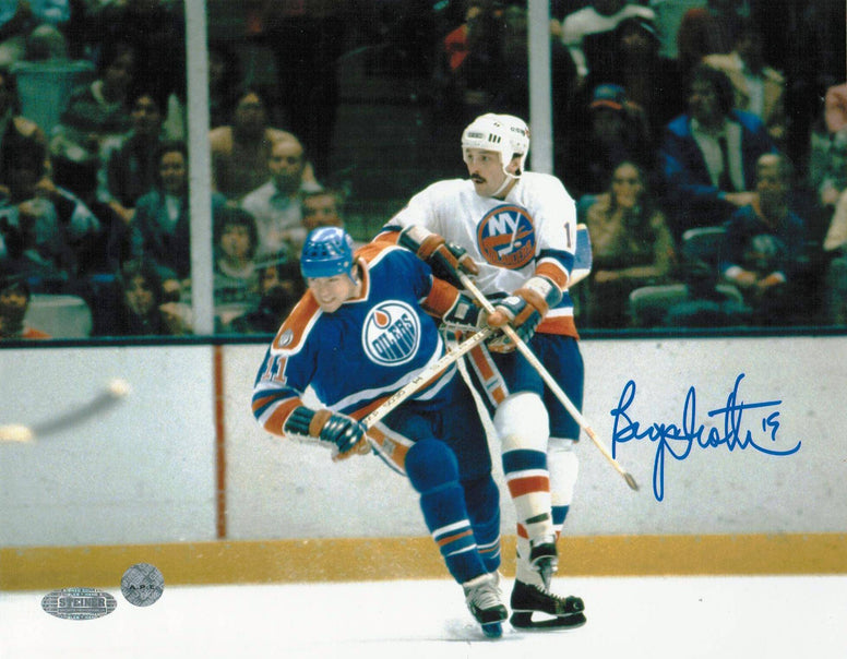 Bryan Trottier New York Islanders Autographed 8x10 Photo -Battling with Messier- PSM-Powers Sports Memorabilia
