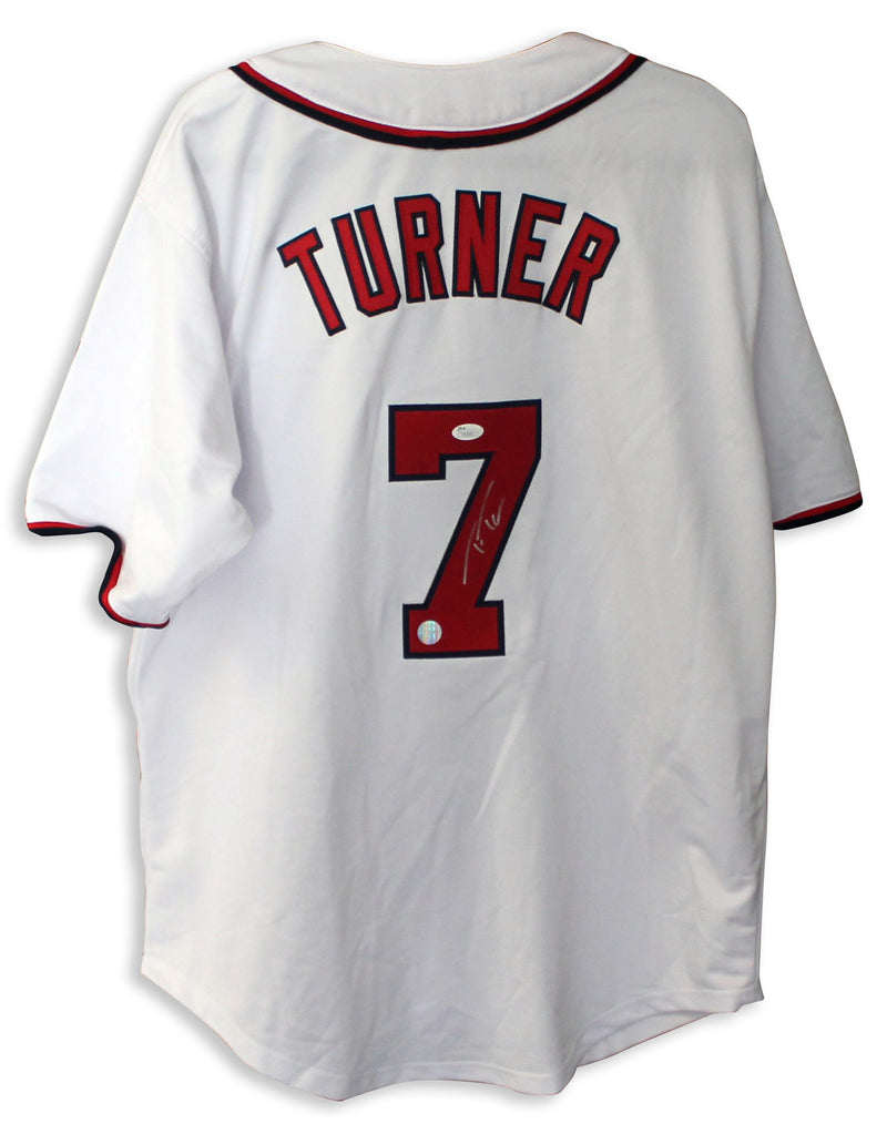 Trea Turner Washington Nationals Autographed White Jersey PSM-Powers Sports Memorabilia