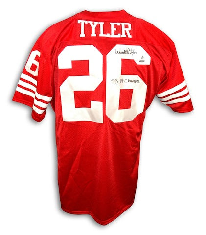 Autographed Wendell Tyler San Francisco 49ers Red Throwback Jersey PSM-Powers Sports Memorabilia