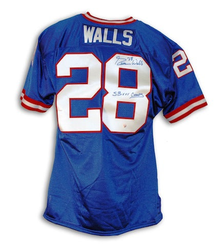 "Autographed Everson Walls New York Giants Blue Throwback Jersey Inscribed ""SB XXV Champs"" PSM-Powers Sports Memorabilia"