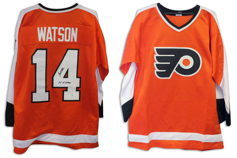 "Joe Watson Philadelphia Flyers Autographed Orange Jersey Inscribed ""74' 75' Champs"" PSM-Powers Sports Memorabilia"