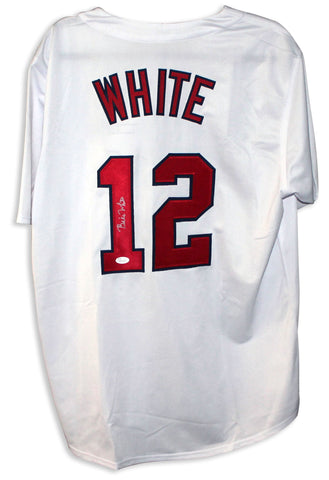 Bill White St. Louis Cardinals Autographed White Jersey PSM-Powers Sports Memorabilia