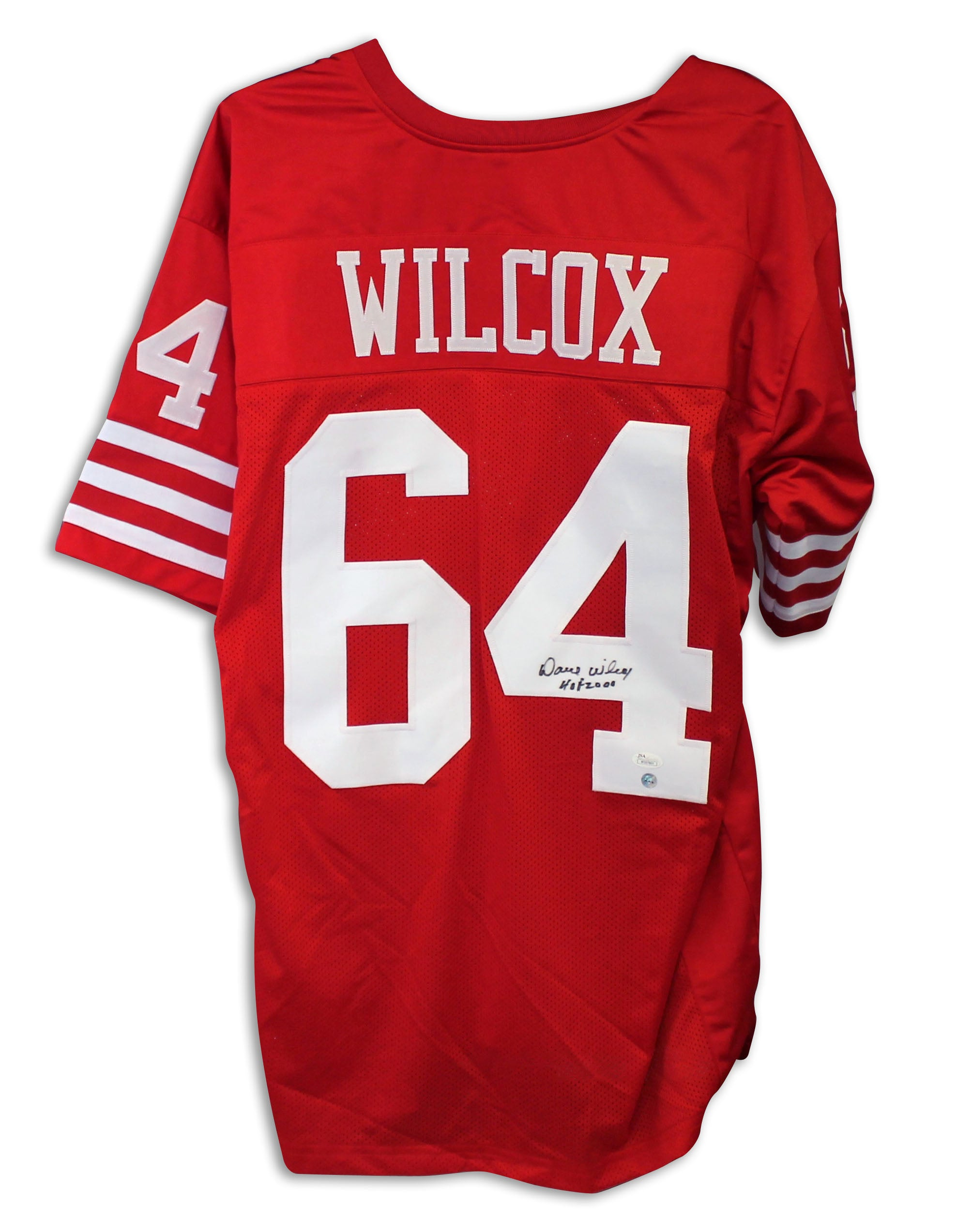"Dave Wilcox San Francisco 49ers Autographed Red Jersey Inscribed ""HOF 2000"" PSM-Powers Sports Memorabilia"