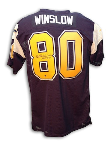 Autographed Kellen Winslow San Diego Chargers Throwback Jersey Inscribed HOF 95 PSM-Powers Sports Memorabilia