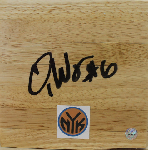 Qyntel Woods New York Knicks Autographed 6x6 Floor Board PSM-Powers Sports Memorabilia