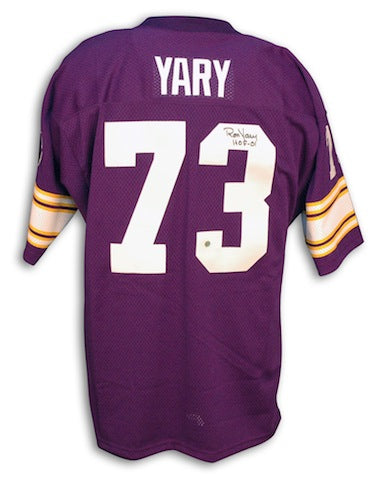 Autographed Ron Yary Minnesota Vikings Purple Throwback Jersey w/ HOF 01 Inscription PSM-Powers Sports Memorabilia