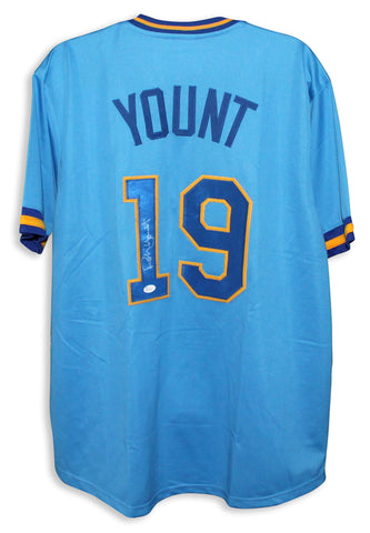 Robin Yount Milwaukee Brewers Autographed Blue Jersey PSM-Powers Sports Memorabilia
