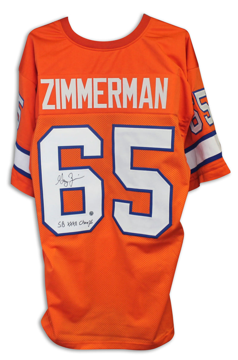 "Gary Zimmerman Denver Broncos Autographed Orange Jersey Inscribed ""SB XXXII Champs"" PSM-Powers Sports Memorabilia"