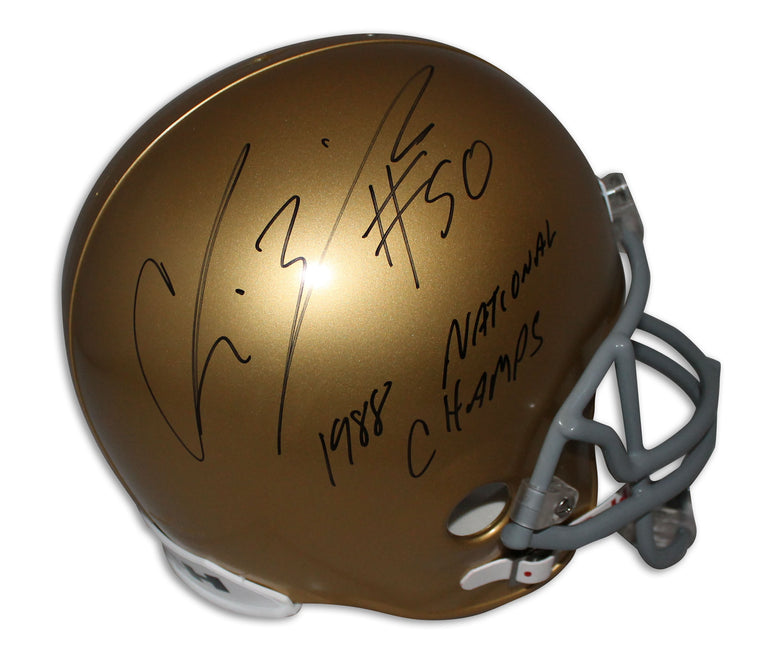 "Chris Zorich Notre Dame Fighting Irish Replica Helmet Inscribed ""1988 National Champs"" PSM-Powers Sports Memorabilia"