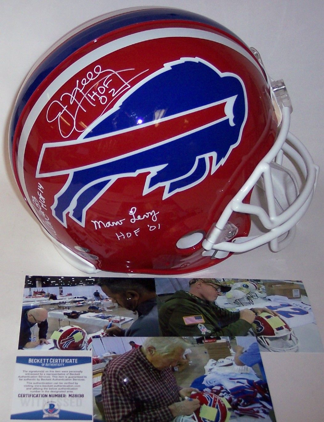 Jim Kelly, Marv Levy & Andre Reed Autographed Hand Signed Buffalo Bills Throwback Full Size Authentic Helmet - BAS Beckett Authentication PSM-Powers Sports Memorabilia