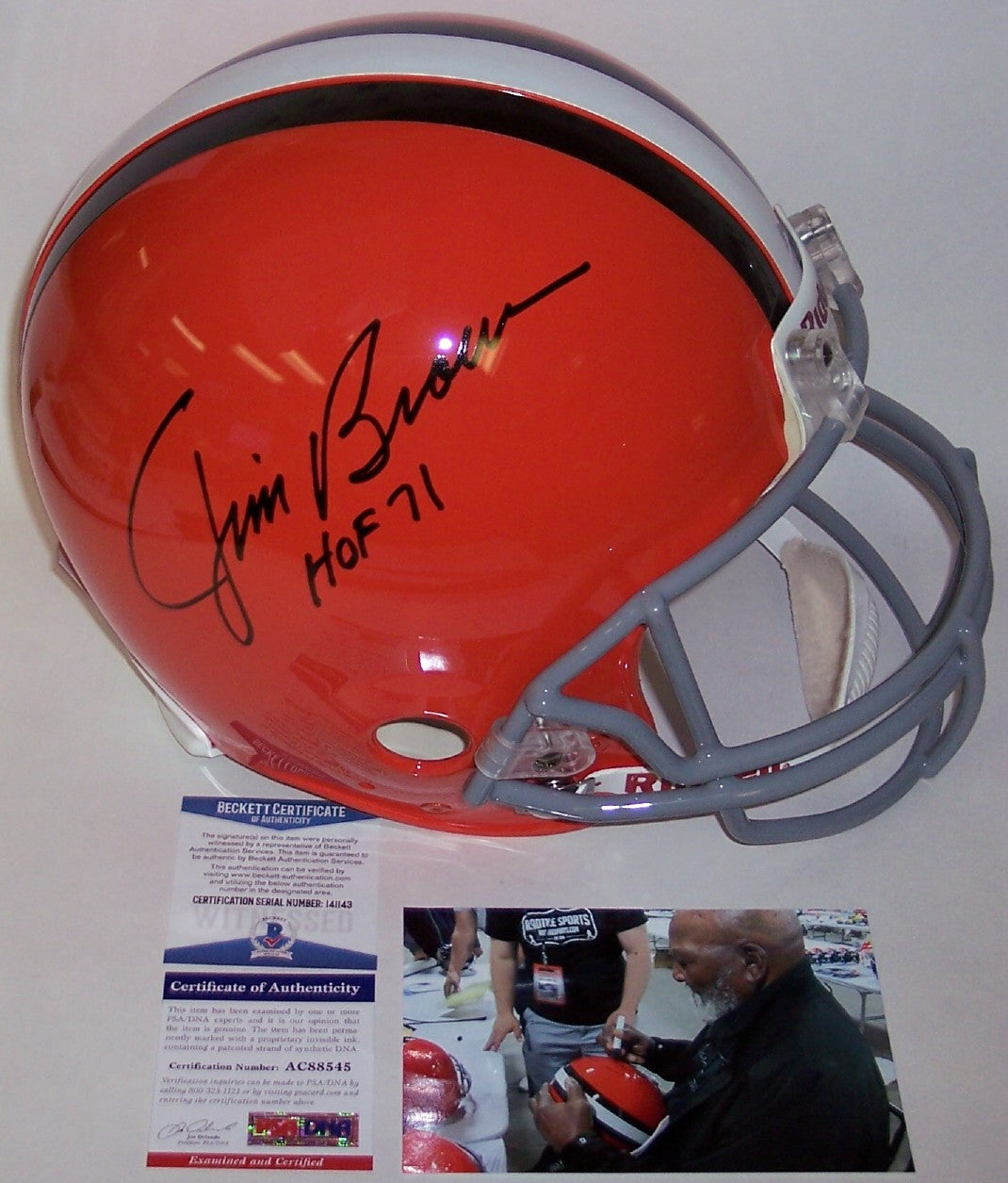 Jim Brown Autographed Hand Signed Cleveland Browns Throwback Full Size Authentic Helmet - PSA/DNA PSM-Powers Sports Memorabilia