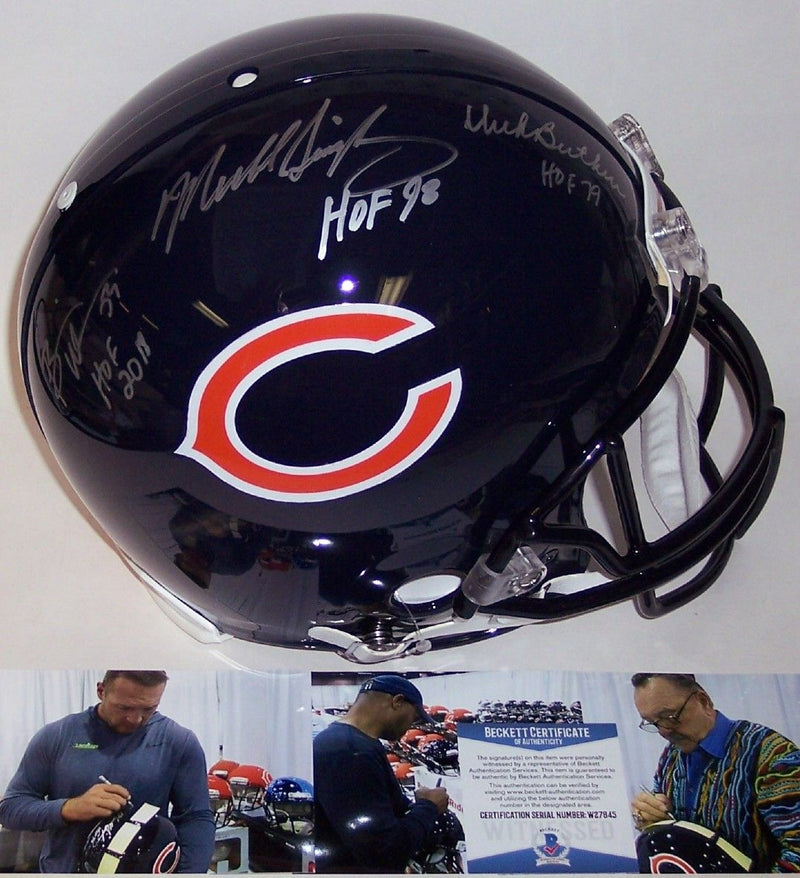 Dick Butkus, Mike Singletary & Brian Urlacher Autographed Hand Signed Chicago Bears Full Size Authentic Pro Helmet - BAS Beckett Authentication PSM-Powers Sports Memorabilia