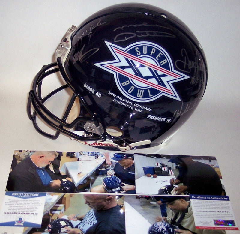 Mike Ditka, Jim McMahon, Dan Hampton, Mike Singletary and William Perry - Autographed Hand Riddell Chicago Bears Super Bowl XX Champs Full Size Authentic Helmet - PSA/DNA PSM-Powers Sports Memorabilia