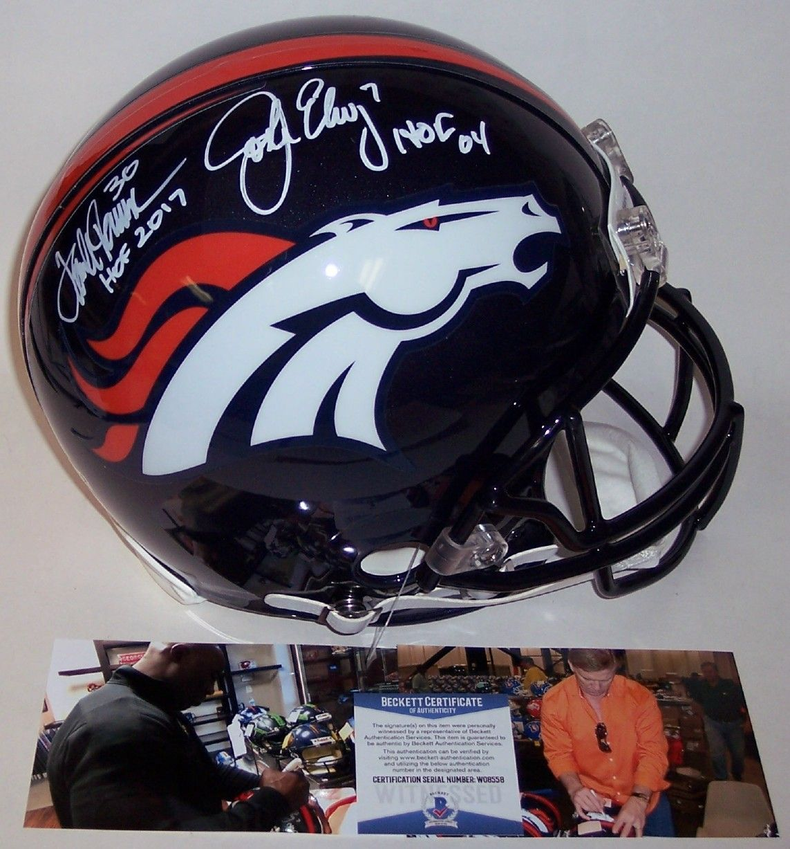 John Elway & Terrell Davis Autographed Hand Signed Riddell Denver Broncos Full Size Authentic Pro Helmet - BAS Beckett PSM-Powers Sports Memorabilia