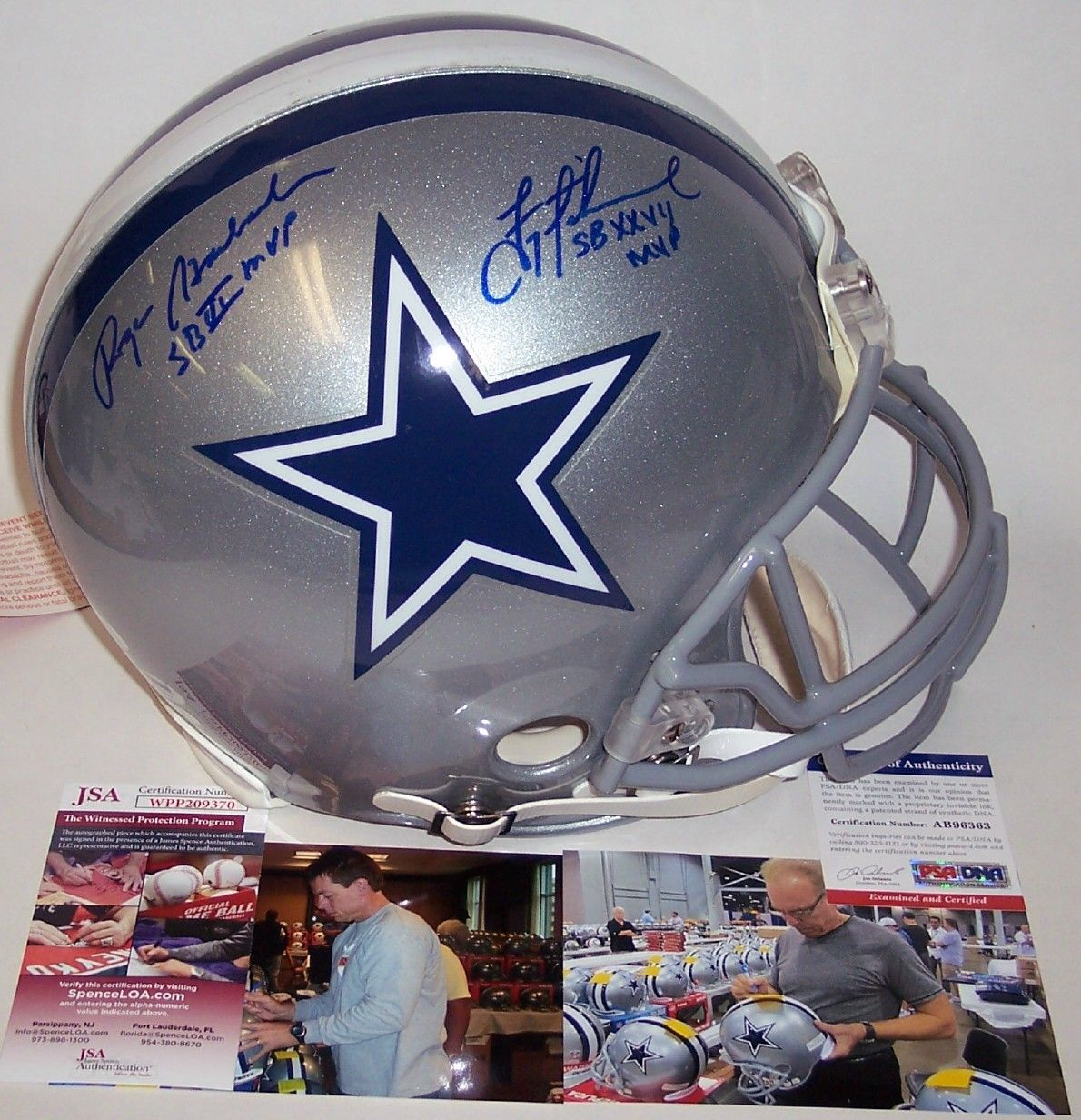 Troy Aikman & Roger Staubach Autographed Hand Signed Dallas Cowboys Authentic Helmet - PSA/JSA PSM-Powers Sports Memorabilia