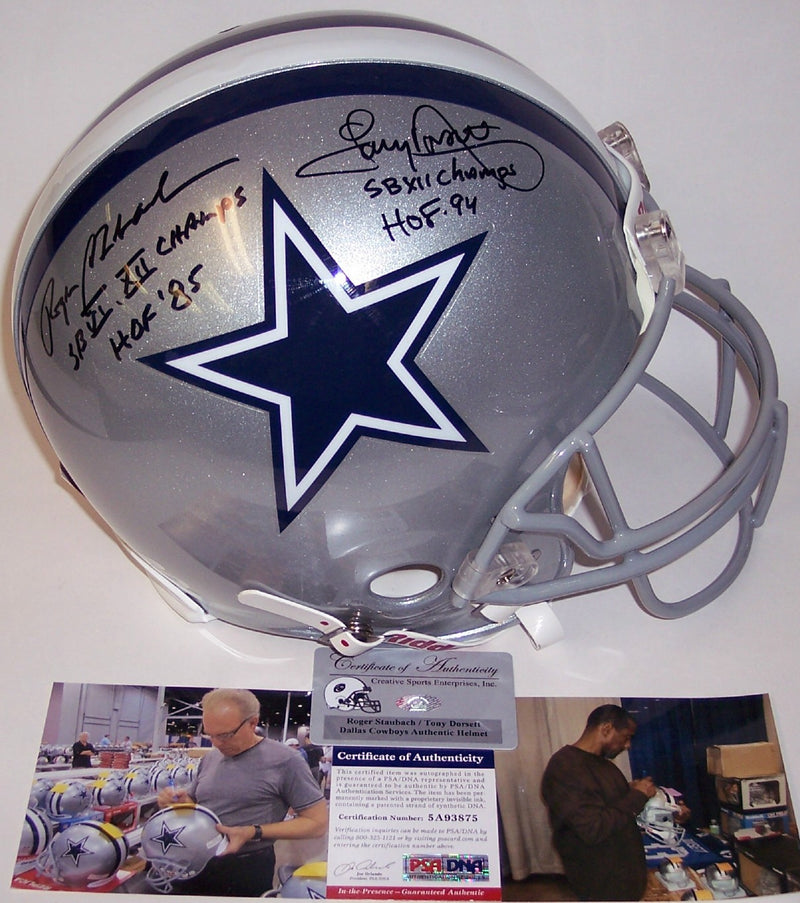 Roger Staubach & Tony Dorsett Autographed Hand Signed Dallas Cowboys Full Size Authentic Helmet - PSA/DNA PSM-Powers Sports Memorabilia